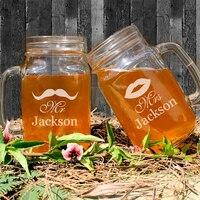 Wedding Decoration Custom Mason Jar Bottle Personalized Cute Mustache & Lips Pattern of Mason Jar Glass Handle Party Supplies