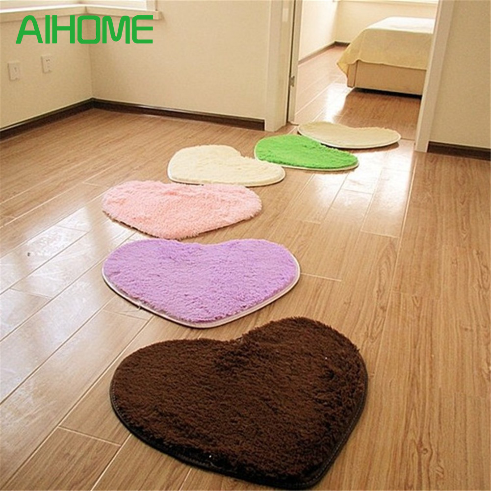 Bedroom Peach Heart Shaped Comfort Mat Silk Wool Oval Polyester Rugs TOP