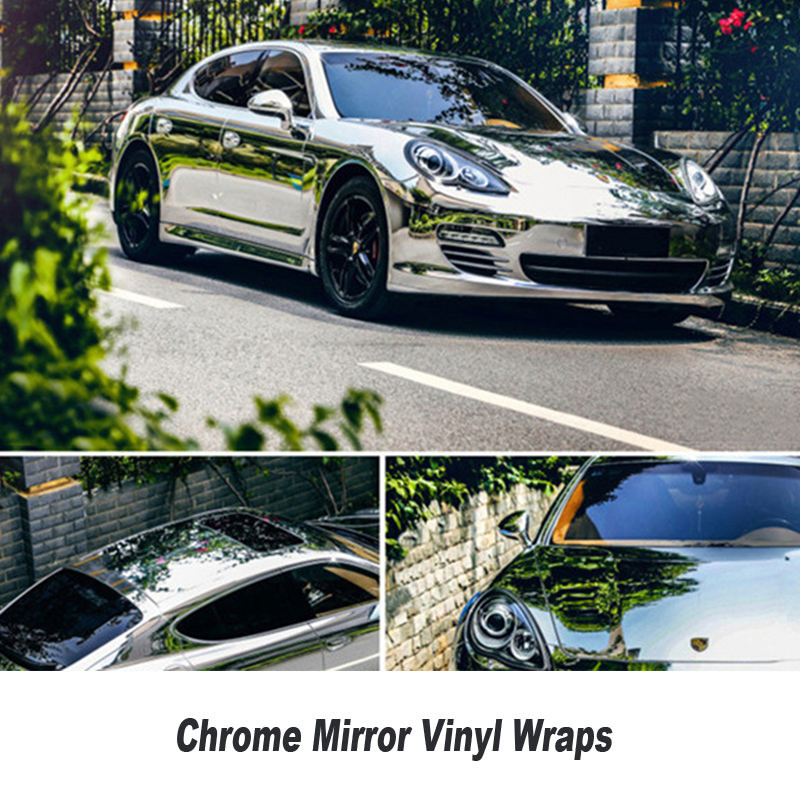 High Stretch Chrome Silver Vinyl Wrap Full Car Wrapping Mirror Chrome Film Air Bubble Free Vehicle free shipping mcp x mcpx v2 metal upgrade paddle clip spindle rotor