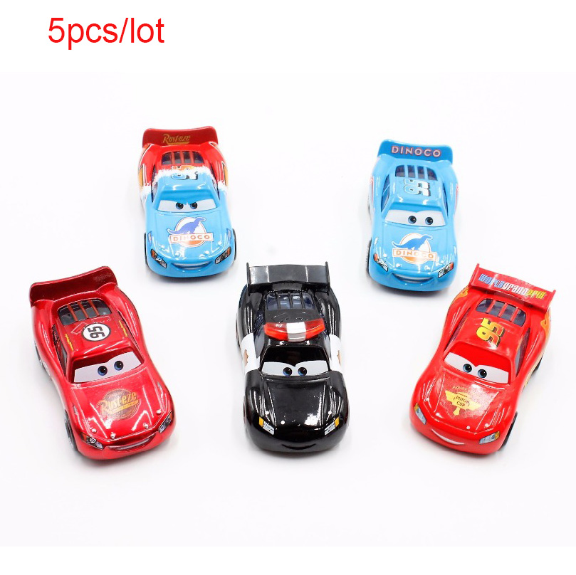 Disney Pixar Cars 5pcs/Lot 1:55 Police Dinoco Piston Cup Mcqueen Diecast Metal Alloy Toys Birthday Christmas Gift For Kids Toys