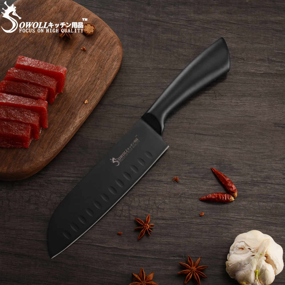 Sowoll 7'' Stainless Steel Santoku Knife Bend Handle Sharp Blade Knife Meat Sushi Fish Kitchen Accessory Tools Japanese Style