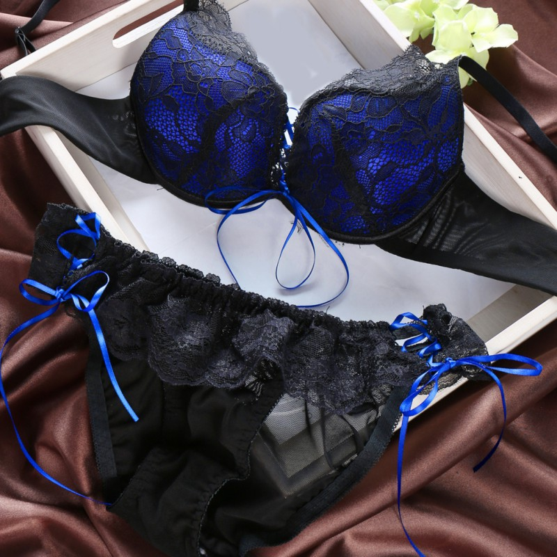Women Bandage Push Up   Bras   Sexy Lace Floral Embroidery   Brief     Sets   + Flimsy Lace Underwear Suits