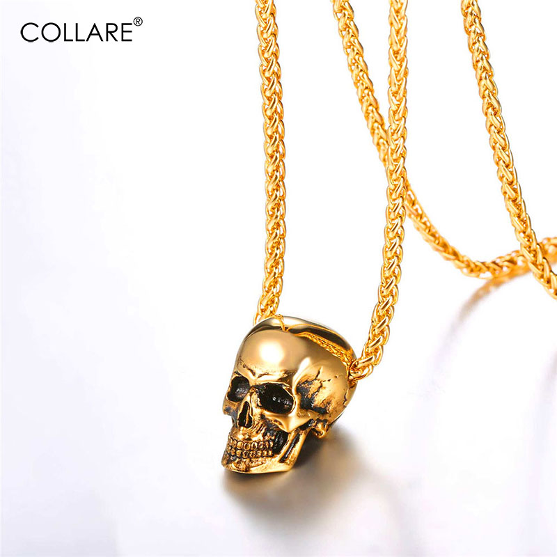 Collare Gothic Skull Pendants Men Black/Gold Color Skeleton Biker Jewelry 316L Stainless Steel Punk Head Of Skull Necklaces P827