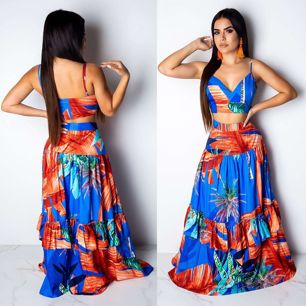 Women V-Neck Spaghetti Strap Two Piece Set Crop Top And High Waist Long Skirt Floral Print Suit Sleeveless Summer Outfits
