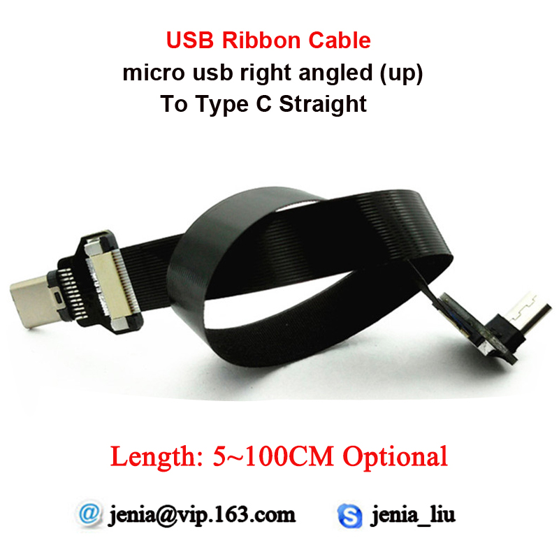5CM~100CM Thin Ultra FFC USB Data Flexible Ribbon Flat Cable Micro USB Up angled to Type C USB Straight Connector5CM~100CM Thin Ultra FFC USB Data Flexible Ribbon Flat Cable Micro USB Up angled to Type C USB Straight Connector