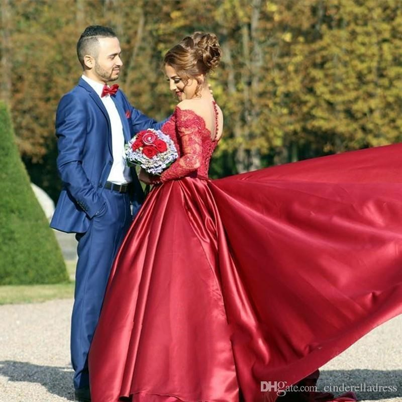 New Sexy Vintage Burgundy Off Shoulder Long Sleeve Prom Dress V Neck  Mermaid Ribbon Sash Plus Size Said Mhamad Evening Gowns-in Evening Dresses  from ... 237dfbdfc53e