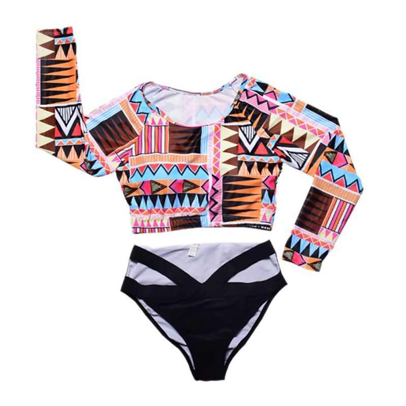 مثير النساء طفح الحرس السباحة الدعاوى منقوشة طباعة ملابس طويلة الأكمام ملابس السباحة ركوب الأمواج وبحر تصفح الإناث Biquini