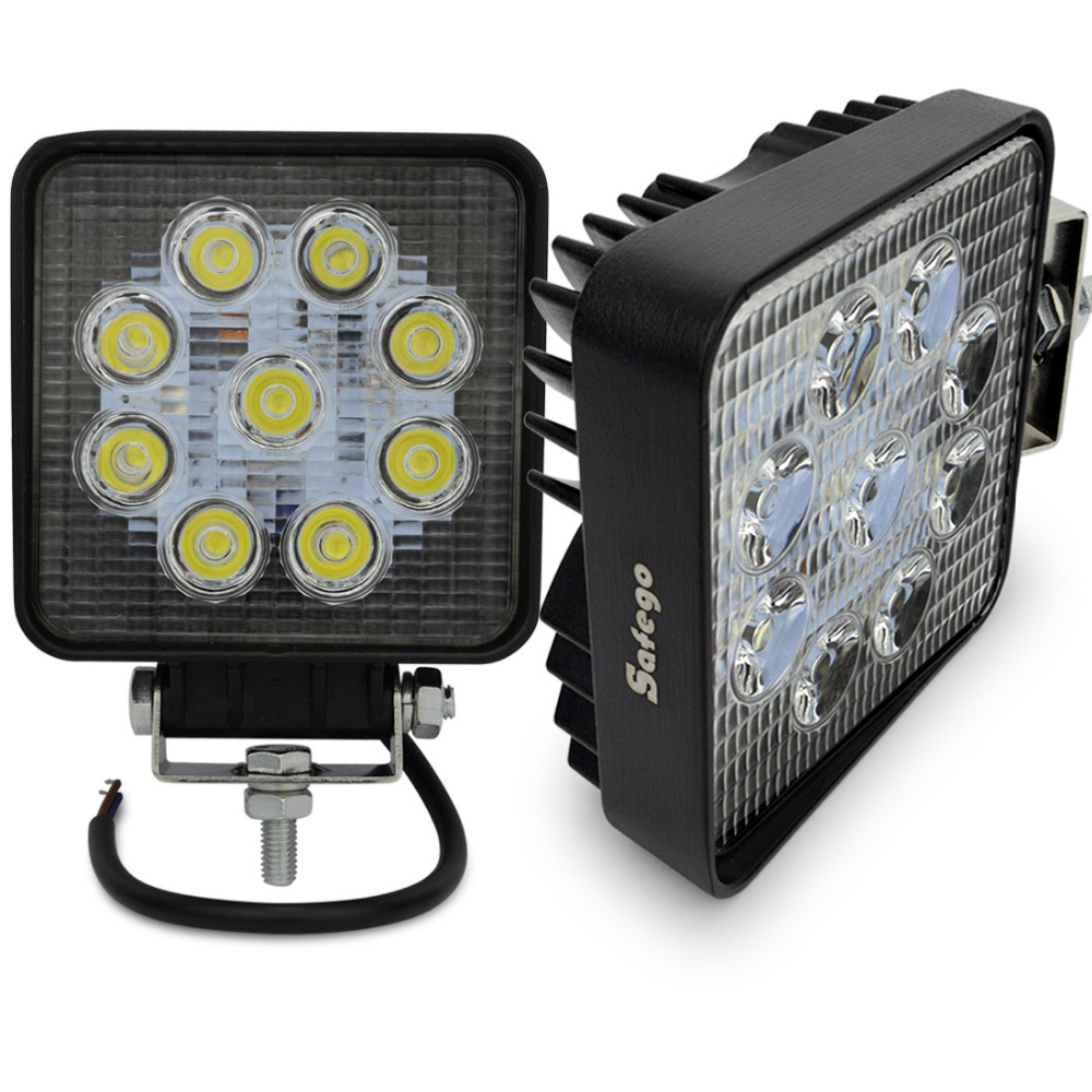 2pcs motorcycle led 27w flood spot 4 inch 27w work light 12 volt led work lights for 4x4 tractor offroad car