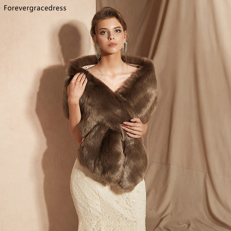 Forevergracedress 2019 Elegant Soft Autumn Winter Faux Fur Bride Wedding Wrap Bolero Jackets Bridal Coats Shawls Scarves PJ315