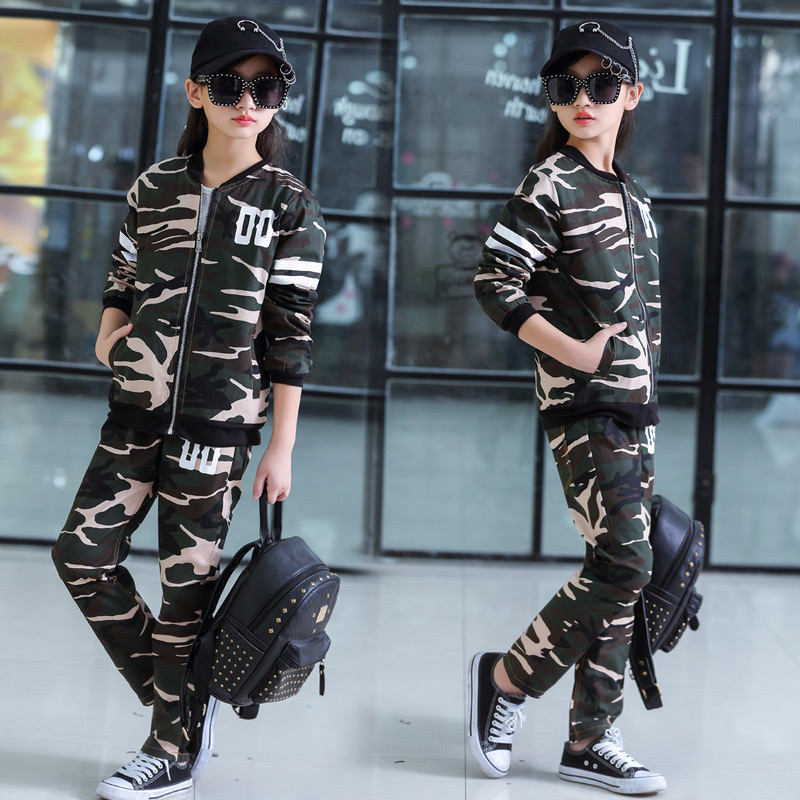 Fashion Sport Suit Tracksuit for Girls Teenage Camouflage Girl Clothing Sets Children Costume Kids Baby Winter Clothes Sets teenage girls clothes sets camouflage kids suit fashion costume boys clothing set tracksuits for girl 6 12 years coat pants