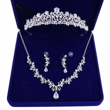 2019 Cubic Zirconia Crystal Bridal Wedding Jewelry Set Tiara Crown Necklace Earrings for Brides Hair Jewelry Accessories Party недорого