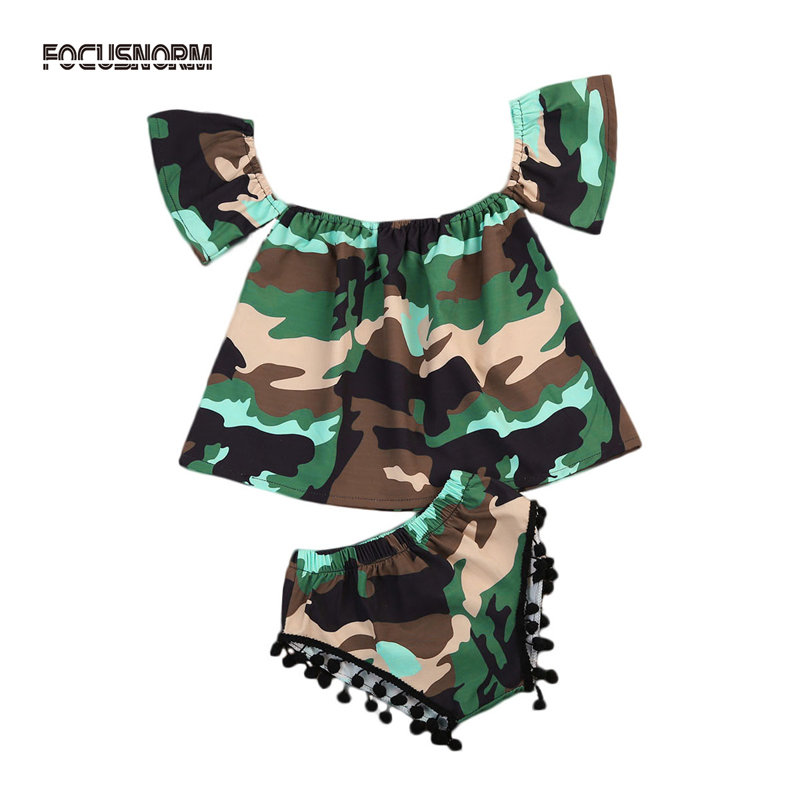 2Pcs New Fashion Toddler Newborn Baby Girl Clothes Camouflage Off Shoulder Tops+Pants Set Outfits Summer Clothes 0-24M