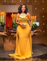 Золото Русалка вечернее платье Африка Стиль Бисер сатиновое платье Пеплум пол Длина вечерние платья церемонии знаменитости для платье для