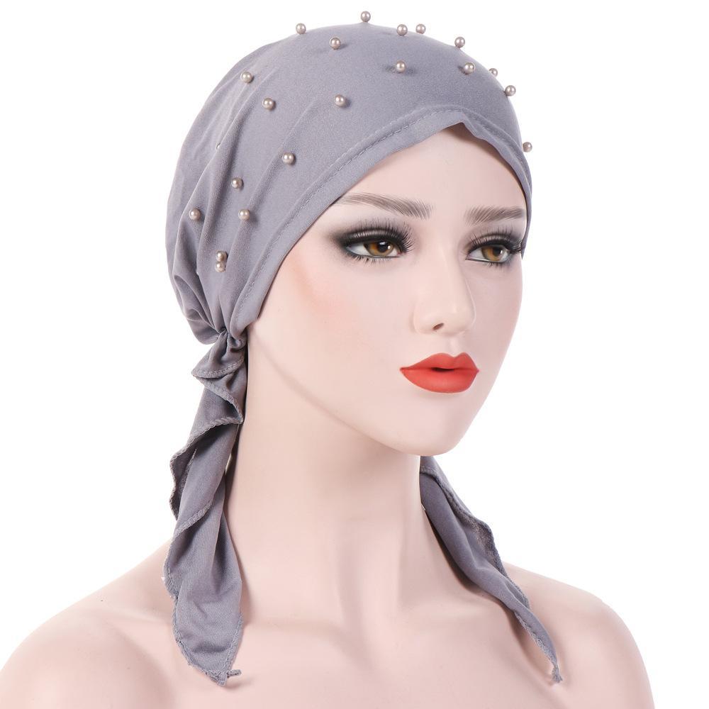Muslim Women Hijab Abaya Cancer Chemo Hat Inner Cap Pearls Hair Loss Head Scarf Turban Head Wrap Islamic Cap Long Tail Bandanas