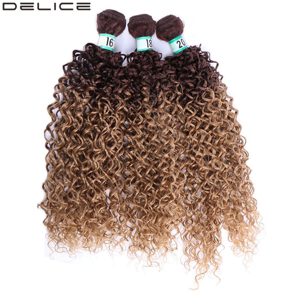 "DELICE Black Brown Ombre Kinky Curly Hair Weaving 3pcs/pack Synthetic Hair Extensions Weft Bundles For Women 16"" 18"" 20"""