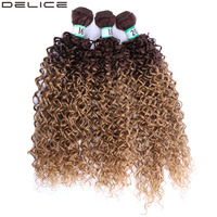 Delice Black Brown Ombre Kinky Curly Hair Weaving 3pcs/pack Synthetic Hair Extensions Weft Bundles For Women 16 18 20
