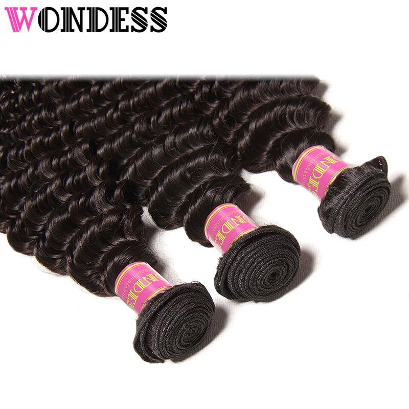 Wondess человеческих волос глубокая волна 1 Комплект натуральный Цвет волос ткет 12-26 дюймов необработанные девственные волосы могут купить 3 ил...