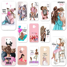 Silicone Case For Samsung Galaxy J4 2018 J400F J400F/DS J400G/DS 5.5 inch Soft TPU Cover Black Brown Hair Baby Mom Girl Bumper
