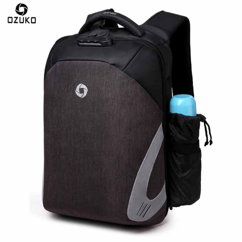 OZUKO New Men Backpack 15.6 Inch Anti-theft USB Charging Designer Laptop Backpack School Bags For Teenagers Waterproof Rain 14 15 15 6 inch flax linen laptop notebook backpack bags case school backpack for travel shopping climbing men women