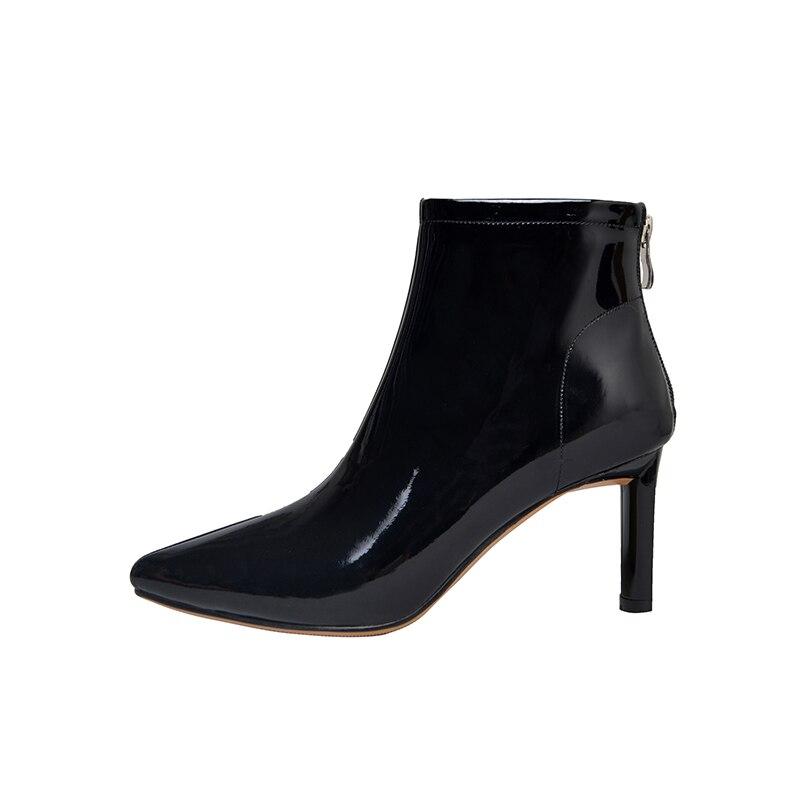 Estrecha Mujeres black rosado Leather Otoño Wetkiss Punta blanco Botas Negro Partido black Mujer Tacones Leather 2018 Patent Zapatos Charol Calzado Matt 1CnnSIAqwx