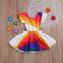 Summer Casual Baby Girls Rainbow Pattern Flare Sleeve Dress Cotton Kids Toddler Backless Sundress Baby Clothes 1