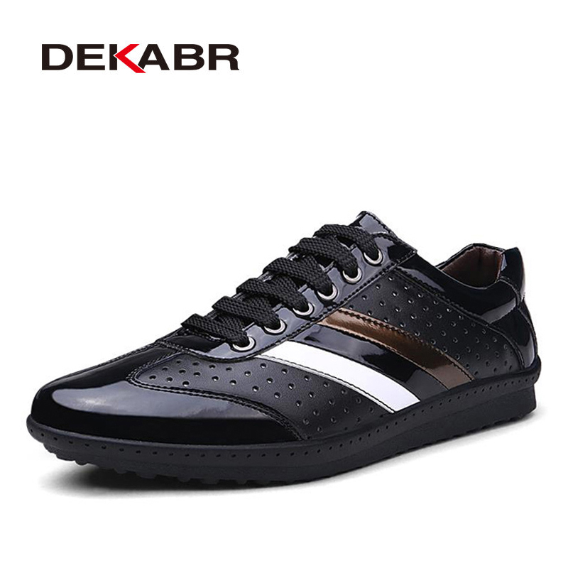 DEKABR Men Shoes Branded Casual 2018 Spring/Summer Fashion Genuine Leather For Men Designer Shoes Casual Breathable Mens Shoes the spring and summer men casual shoes men leather lace shoes soled breathable sneaker lightweight british black shoes men