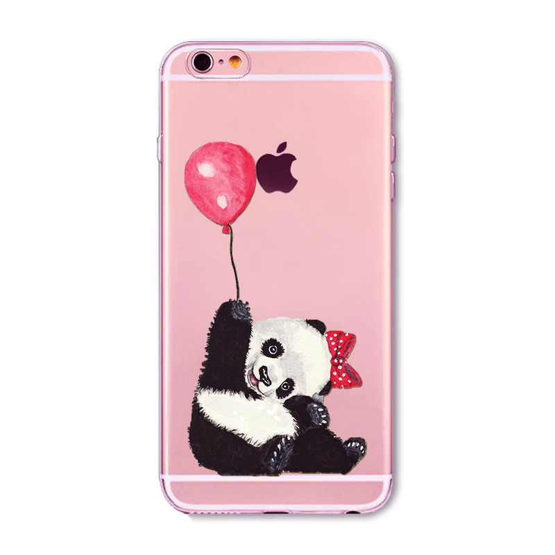 new china cute panda phone cases for iphone 6 6s cover soft tpu clever cartoon pandas cats banboo coque capa for iphone 6 case in fitted cases from