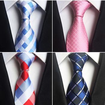 GUSLESON Classic 100 jedwabne krawaty męskie nowy projekt krawaty 8cm Plaid amp Striped krawaty dla mężczyzn formalne formalne na wesele Party Gravatas tanie i dobre opinie Moda SILK Dla dorosłych Szyi krawat Jeden rozmiar New Design Plaid Tie 100 Jacquard Woven Silk 146cm*8cm*3 5cm OPP Bag