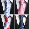 GUSLESON clásico de 100% de seda de lazos para Hombre Nuevo diseño cuello lazos 8 cm cuadros y rayas para hombres de negocios Formal fiesta de boda Gravatas