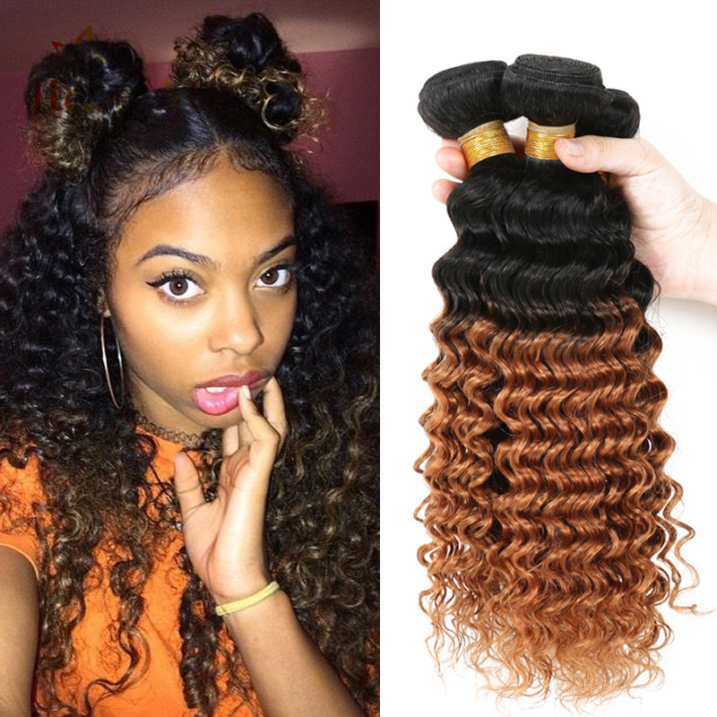 Queen Hair Products T1b 30 Ombre Brazilian Hair Deep Wave