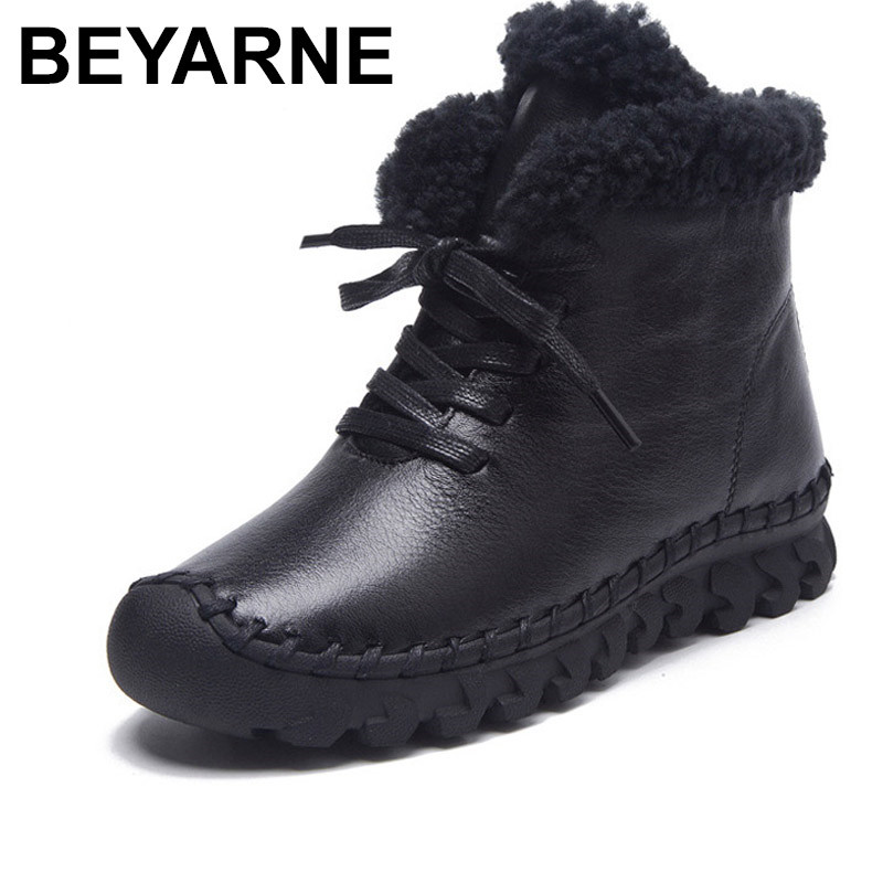 BEYARNEWarm Thick Cotton Winter Boots Women 2017 Fashion New Casual Female Genuine Leather Flat Women's Boots Short Plush Shoes skullies beanies the new russian leather thick warm casual fashion female grass hat 93022