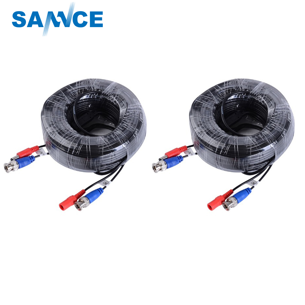 SANNCE 2 rolls 30M cctv video cable bnc Cable connector Security Camera Power Cable for poe camera CCTV Surveillance DVR System 5m 10m 20m 30m audio video power av black cable bnc connector coaxial cable for dvr cctv security surveillance camera
