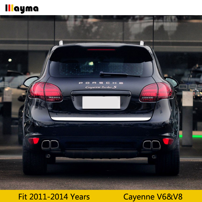 Silver Tail Exhaust Tips Muffler Pipe For Porsche Cayenne V6 V8 2011 2012 2013 2014 Cayenne S GTS Stainless Steel mufflers 1pair