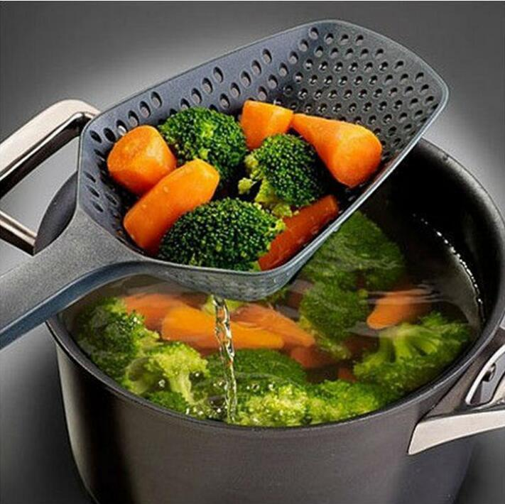 1PC Kitchen Accessories Gadgets Nylon Strainer Scoop Colander Drain Veggies Water Scoop Gadget Cooking Tools Black(China)