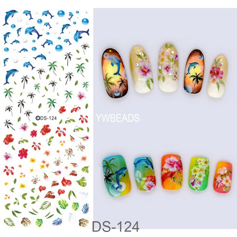 1 Piece Flower Tree Plant Snowflake Lace Water Transfer Decal Cartoon Nail Art Sticker DIY Nail Decoration Tools DS-121-DS-131 nail art beauty nail sticker water decal slider cartoon animal claw paw foot print rp025 030