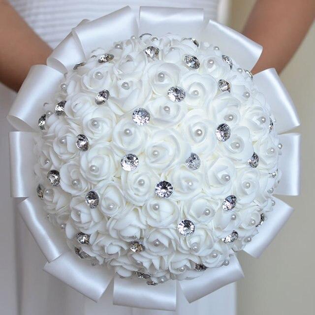 Белый Свадебные Цветы Свадебные Букеты Невесты buque де флорес Искусственный Роуз Искра Кристалл Свадебный Букет A0001