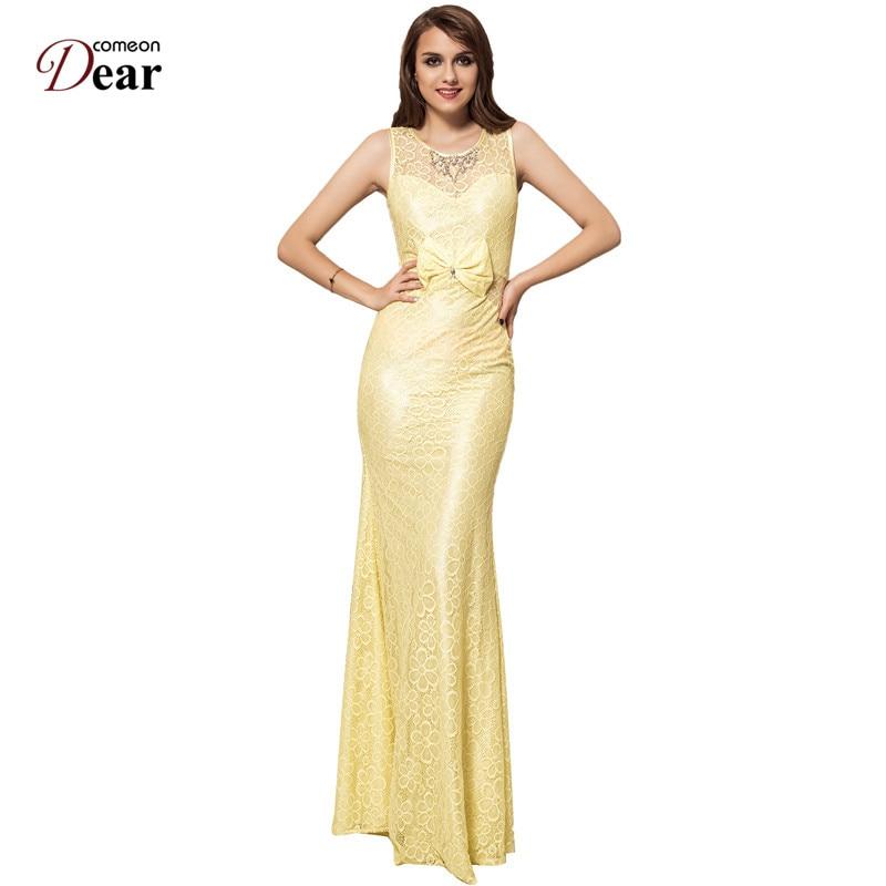83ecdbc98ae Comeondear Robe Longue Femme Ete Yellow Dress VP1026 Vestidos De Inverno  Embroidered Dress Brilliant Yellow Mermaid Flower Dress