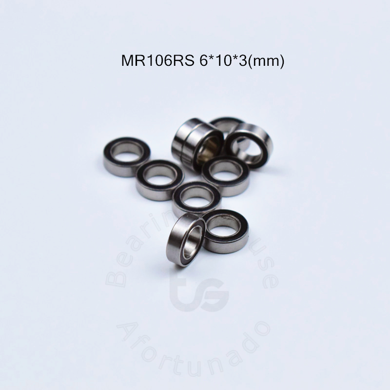 MR106RS  6*10*3(mm) 10pieces Free Shipping Bearing  ABEC-5  Rubber Sealed Miniature Mini Bearing MR MR106RS Miniature Bearings