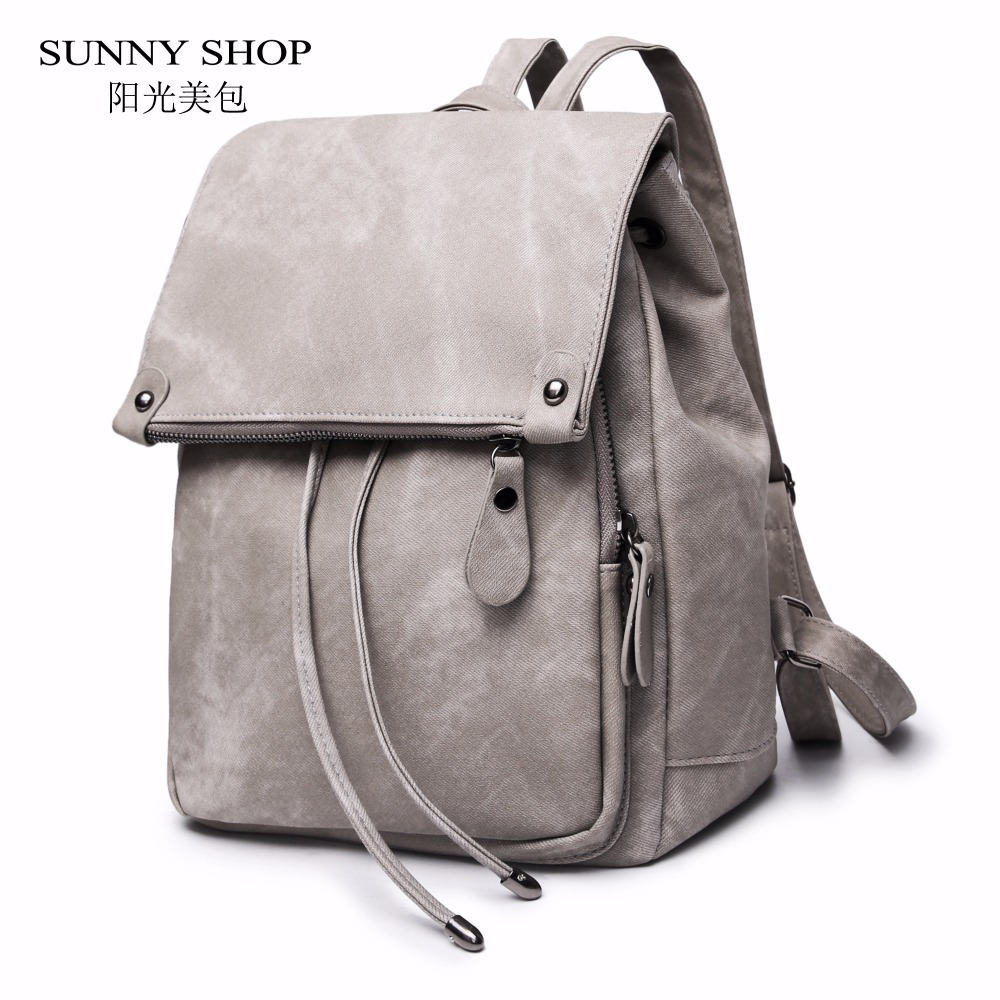 SUNNY SHOP Vintage Casual Preppy Solid Women Drawstring Backpack Girls School Rucksack Matte PU Leather A4 Book Daypack Notebook sunny shop new flower women drawstring backpack fashion school lady casual print backpack high quality pu leather school bag