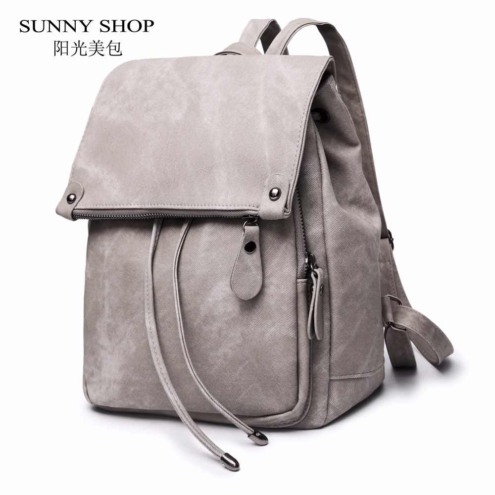 53382531a Detail Feedback Questions about SUNNY SHOP Vintage Casual Preppy Solid Women  Drawstring Backpack Girls School Rucksack Matte PU Leather A4 Book Daypack  ...