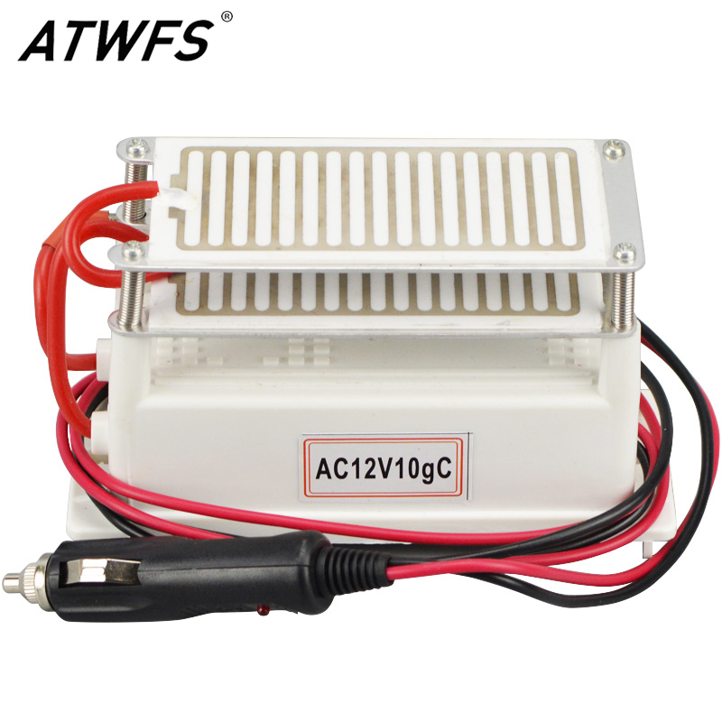 ATWFS High Quality 10g/h Portable Ozone Generator 12v Car Air Purifier Double Ceramics Ozone Plate Ozonizer Sterilizer Long Life high quality air purifier 20g ozone generator 220v ozonizer sterilizer stainless steel electrode damp proof ozone plate