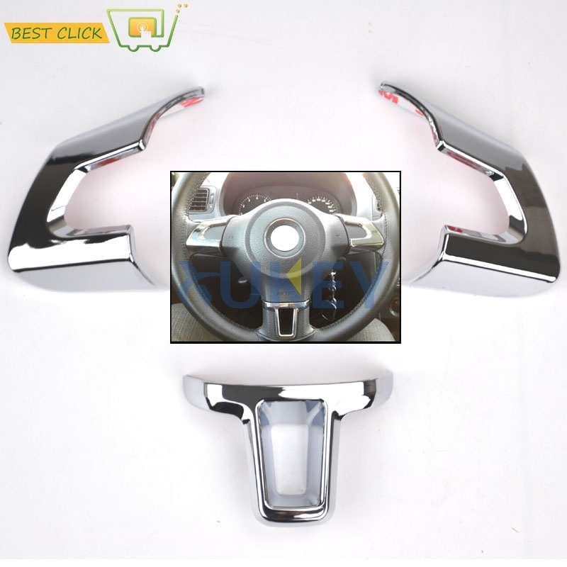 3pc steering wheel chrome cover inserts trim sticker for. Black Bedroom Furniture Sets. Home Design Ideas