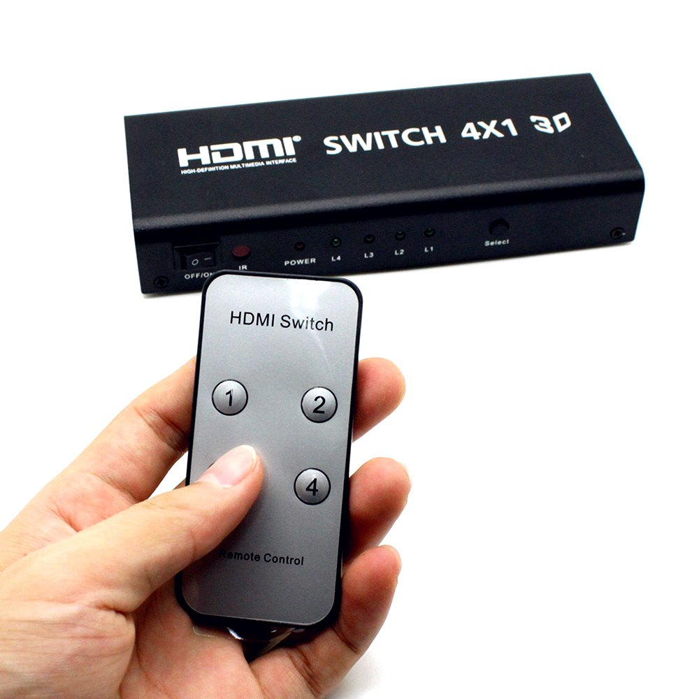 HDMI Switch 4X1 With Audio Toslink Coaxial Audio Output-4 Input with 1 Output Selector Switching Controller Device US Plug