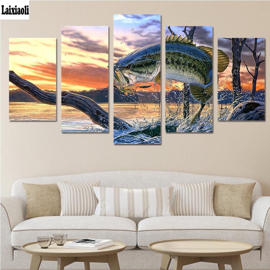 5d Diamond Painting Full square Diamond Embroidery koi Handicrafts Wall Sticker Mosaic Pictures Carp Jump Gantry