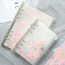 А5 А6 блокнот на молнии для документов, наполнитель, набор бумаги с 2 шт внутренними листами, розовая Морская раковина, держатель для карт, для Filofax, планировщик