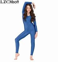 LZCMsoft Womens Dark Grey Long Sleeve Unitard Adult Spandex Lycra Full Body Gymnastics Dance Unitards Performance