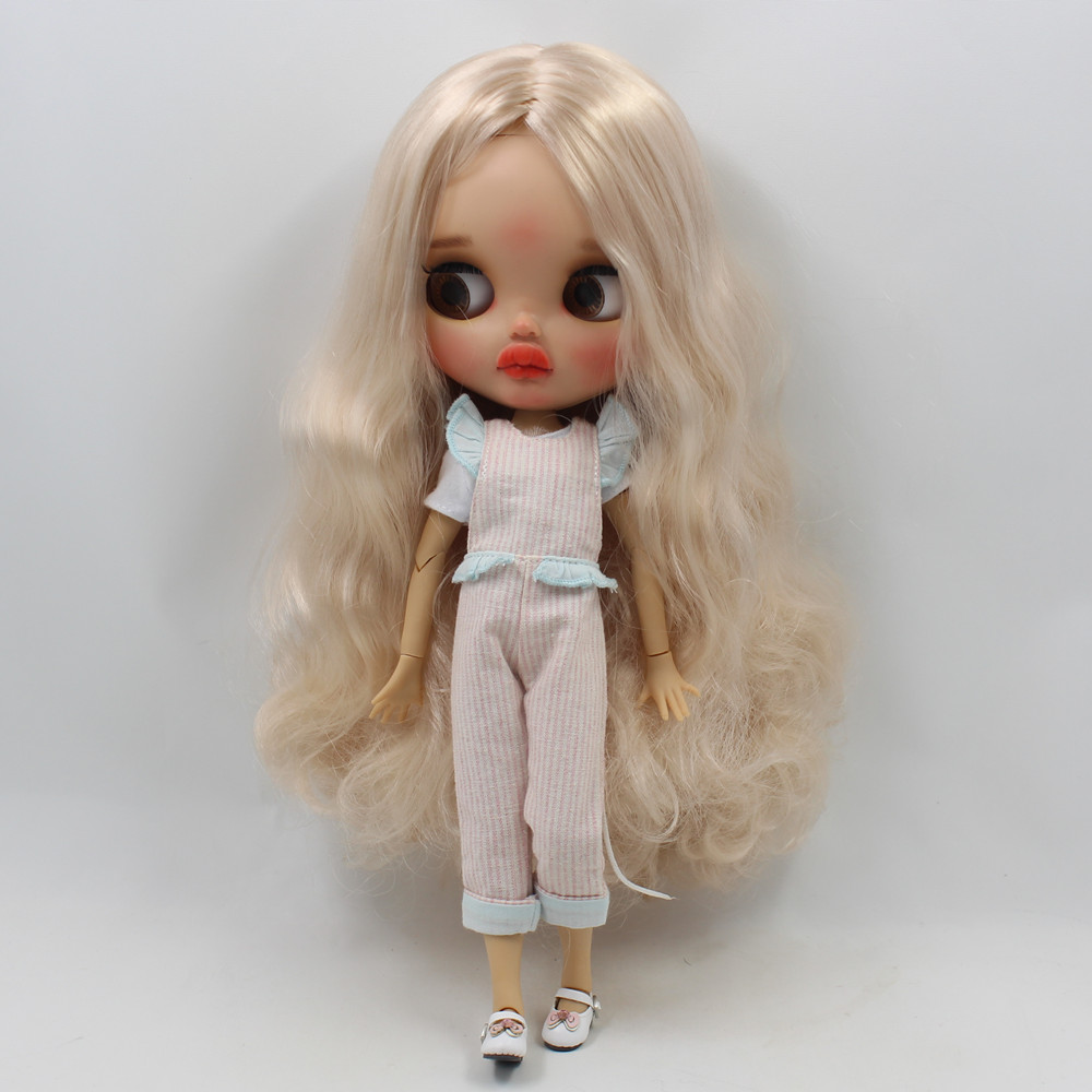 blyth doll clothes pink blue striped jumpsuit white short-sleeved cute fashion girl 1/6 toy gifts