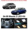 O Envio gratuito de 6 Pçs/lote Xenon Branco Premium Kit Luzes LED Interior de Pacote Para Mazda 3 2004-2009
