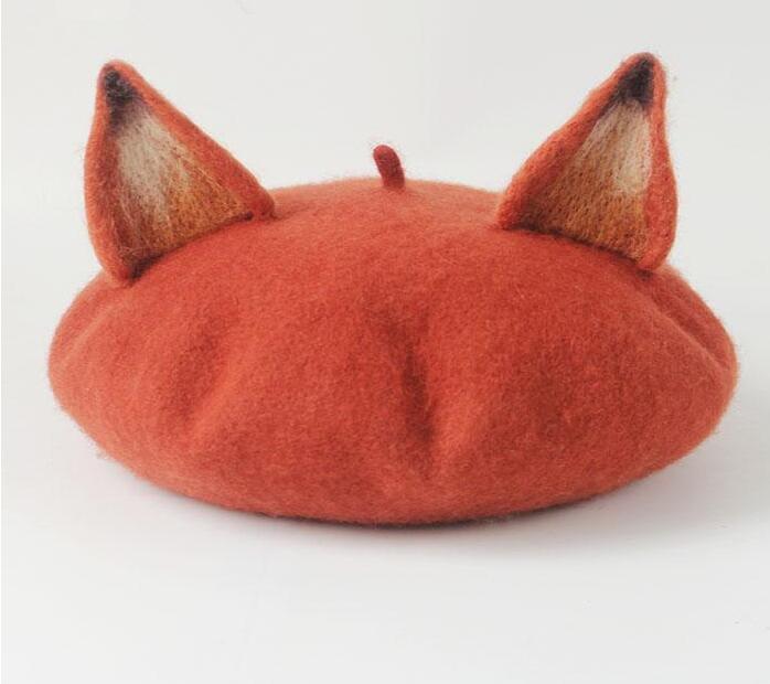 Sweet Lolita Hat Vintage Ear Hat True Real Woolen Warm Winter Beret Manual Wool Beret Women Hat