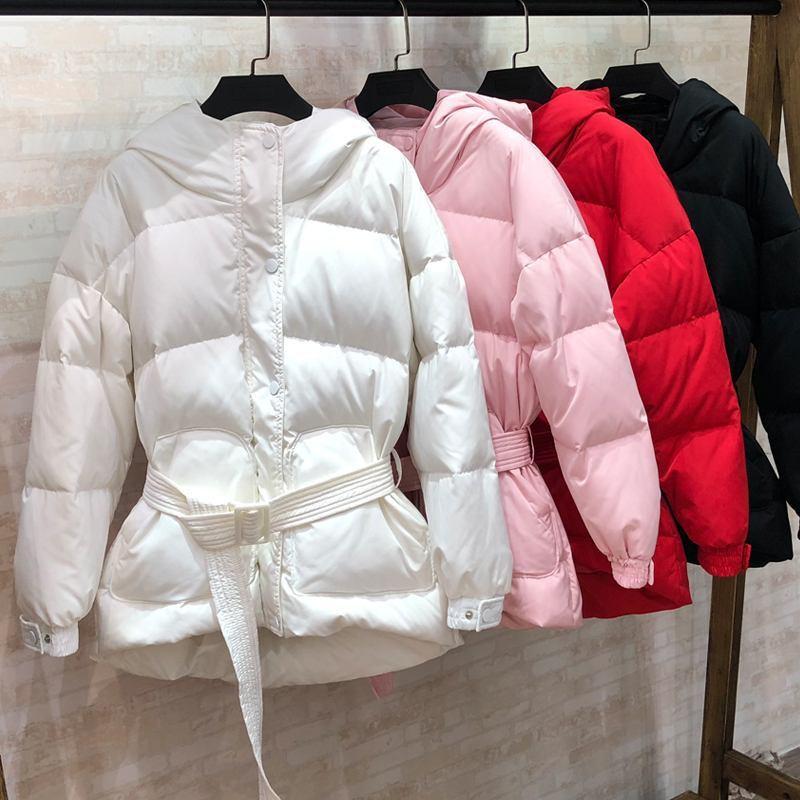 Canard Femelle Nouveau Manteau Le Noir Parkas Vestes Blanc Chaud Ceinture Duvet Femmes blanc Bas De À Z228 Solide rose rouge Capuchon D'hiver Vers Couleur Avec 2018 Mince Outwear ZEwxOw78q